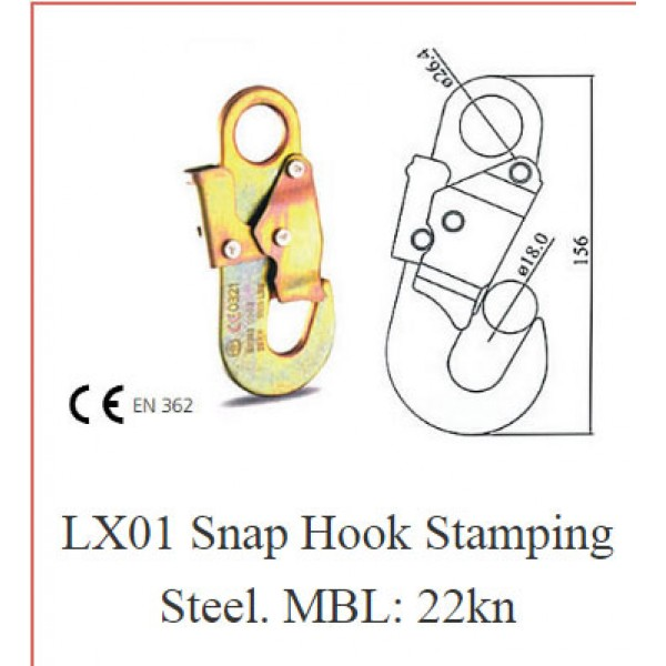 LX01 Snap Hook Stamping Steel. MBL: 22kn