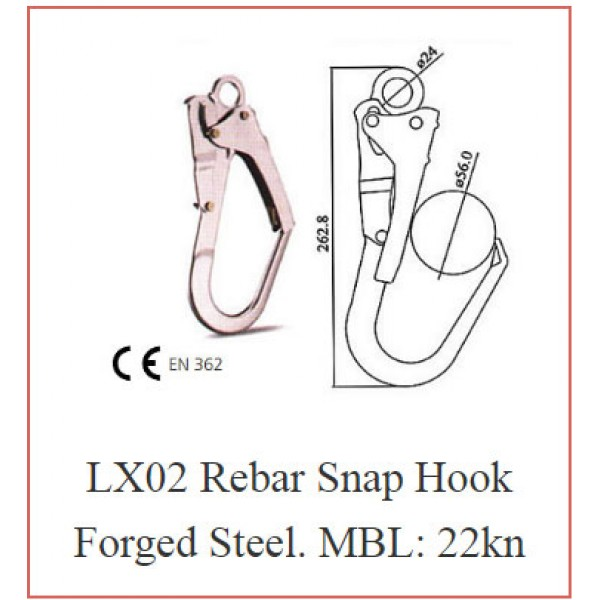 LX02 Rebar Snap Hook Forged Steel. MBL: 22kn