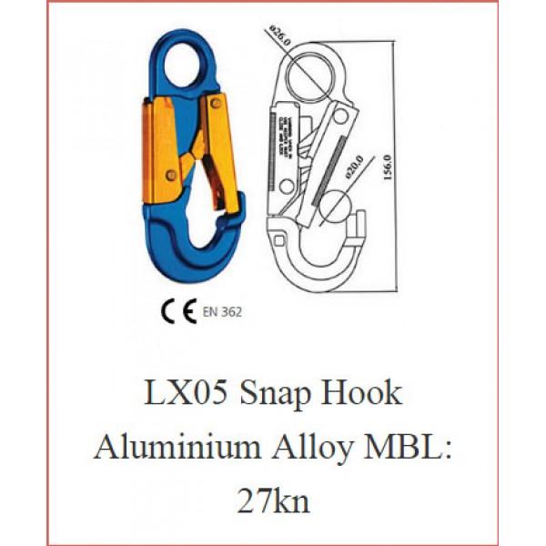 LX05 Snap Hook Aluminium Alloy MBL: 27kn