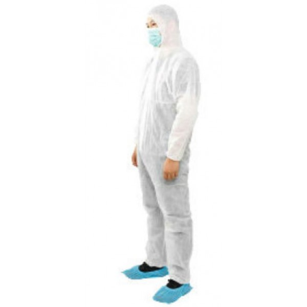 40 GSM-WHITE COVERALL WITH HOOD W/O BOOT